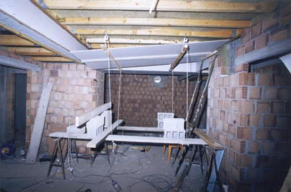 Erecting the live room ceiling