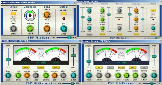 PSP Audioware MixPack composite image of all four plugins